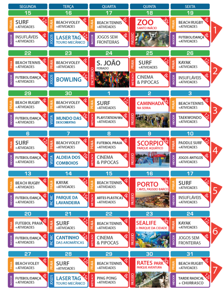 Weteach - Centros de Estudos - Atividades de Férias - SummerCamp - Programa